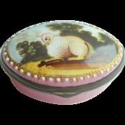 Pink Enamel Bilston Box With Lamb c1810