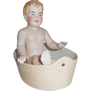 German All Bisque Boy In Bath Novelty c1910