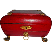 Elaborate Georgian Red Leather Covered Sewing Box c1830