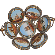 Eglomise Picture & Gilt Metal Miniature Basket c1860
