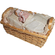 Unusual Squeaker Toy Bisque Baby In Crib c1910