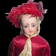 Petite Francois Gaultier Fashion Doll In Ruby Silk Dress c1880