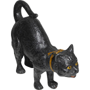 Large Cold Painted Spelter Black Cat c1915