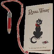 Black Cat Royal Whist Score Sheet & Pencil 1920's