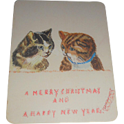 Hand Painted Christmas Card Featuring Two Cats c1915