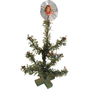 Miniature German Christmas Tree Tiny Spun Glass Ornament