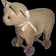 Small Steiff Felt Cat On Wheels c1906