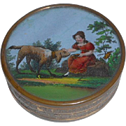 French 19th Century Eglomise Bonbon Box Girl With Dog