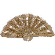 Miniature Mother Of Pearl & Lace Fan c1880