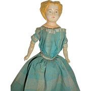 Antique Papier Mache Doll In Lovely Early Dress