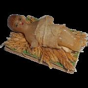 Tiny Bees Wax Crib Figure For Nativity c1910