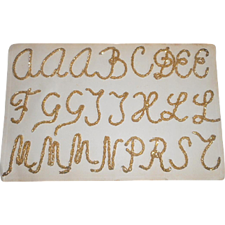 Unusual Old Gold Beaded Letters For Decoration