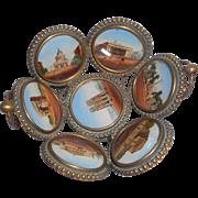 Miniature Gilt Metal Basket Hand Painted Scenes c1860
