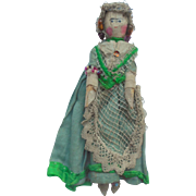 Peg Wooden Doll Original Clothing c1910