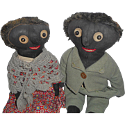 Early Black Cloth Dolls With Noses c1900
