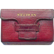 Small Red Leather Book Form Needle Case c1840
