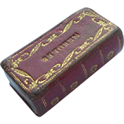 Tiny Book Shaped Needle Box c1840