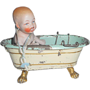 German Bisque Baby In Bath c1915