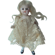 Sweet All Bisque Glass Eyed Girl For Dolls House c1910