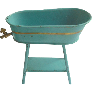 Lovely Tinplate Baby Bath On Stand With Tap c1910