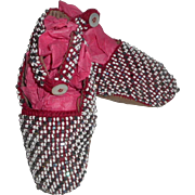 Small Victorian  Beadwork Shoes For Doll c1880