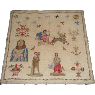 Fine Antique Spot Sampler Sleigh Ride c1840