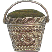 Delightful Small Silver Pincushion Basket c1860