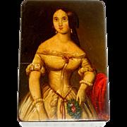 Fine Antique Hand Painted Papier Mache Snuff Box c1850