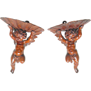 Rare Pair Carved Wood Cherub Wall Brackets c1870