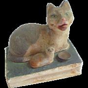 Unusual 19th Century Cat & Kitten Pip Squeak