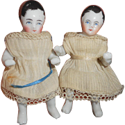 Delightful Pink Tint China Seated Babies c1860