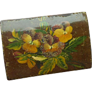 Tiny Spa Work Box With Pansies c1870