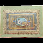 Miniature Silk Covered Sewing Box c1860