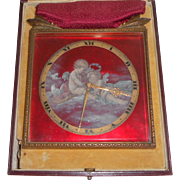 Red Enamel Swiss Boudoir Timepiece In Box c1915