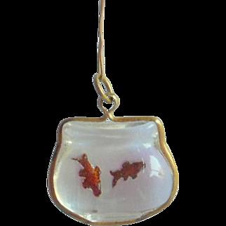 Czech Glass Goldfish Bowl Charm Intaglio c1915