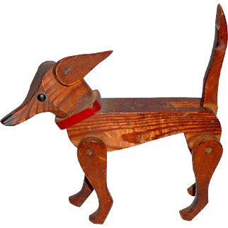 Large Carved Fully Jointed Wooden Dog c1930