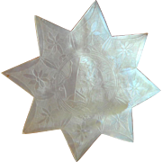 Large Star Engraved Mother Of Pearl Silk Winder c1840