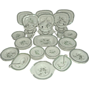 Extensive Victorian Doll's Dinner Service Butterfly Pattern c1860
