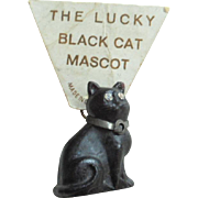 The Lucky Black Cat Glass Czech Cat With Sparkling Eyes For Dolls House c1915