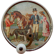 French Musical Box Horse & Children Lithograph c1910