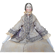 Pink Tint German China Wooden Bodied Doll c1840