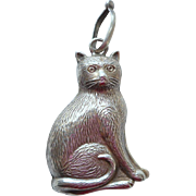 Delightful Solid Silver Cat Rattle HM 1919