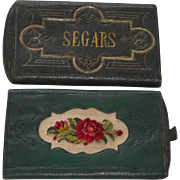 Antique Leather Embossed & Embroidered Segar Case c1860