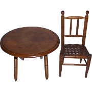 *On hold* Miniature French Bamboo Effect Chair & Table c1900