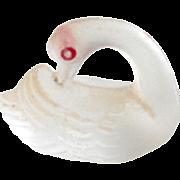 Tiny Czech Glass Swan Cracker Charm c1915