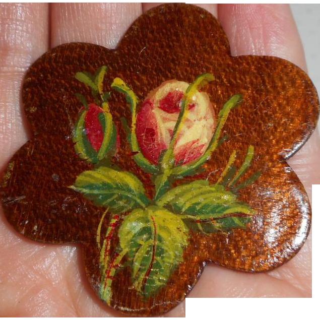 Spa Work Thread Winder Handpainted Flowers c1860