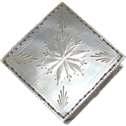 Square Mother Of Pearl Pin Cushion c1840