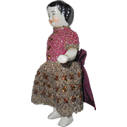 Frozen Charlotte In Beadwork Dress c1880
