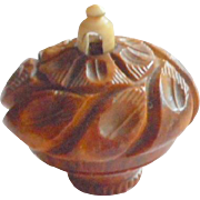 Carved Coquilla Nut Pomander 19th C