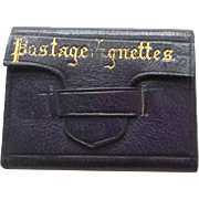 Miniature French Purple Leather Wallet c1880